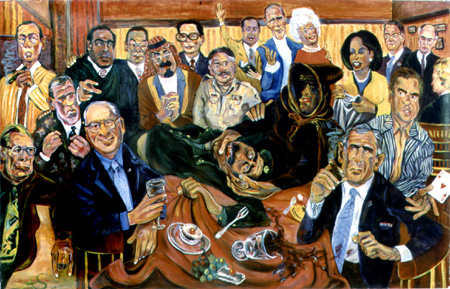 Painting of Bush Family and Saddam Hussein