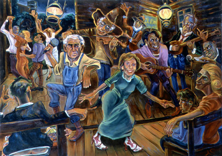 political painting of the Bush Cabinet